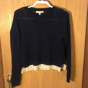 Navy blue sweater with lace trim lightly used